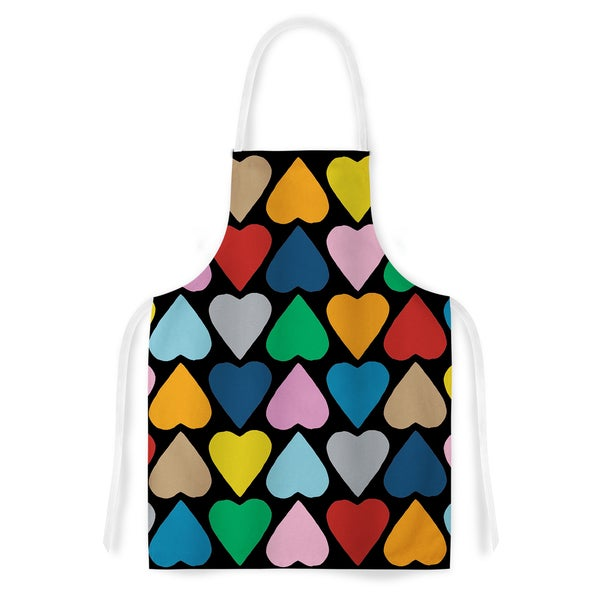 KESS InHouse Project M 'Up and Down Hearts on Black' Artistic Apron