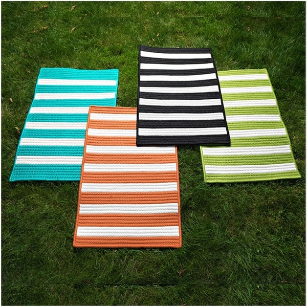 LifeStyle Stripe Indoor/Outdoor Braided Reversible Rug USA MADE - 10' x 13'