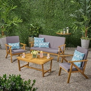 Panama Outdoor 4-piece Wood Chat Set with Cushions by Christopher Knight Home