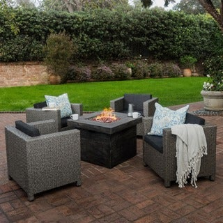 Puerta Outdoor 4-piece Wicker Chair Set with Square Firepit by Christopher Knight Home (4 options available)