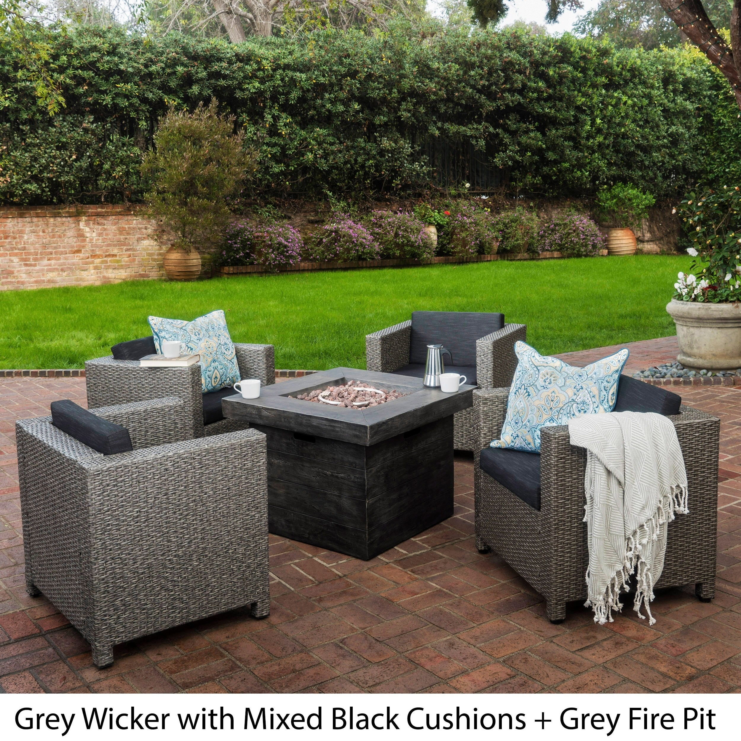 Puerta Outdoor 4-piece Wicker Chair Set with Square Firep...