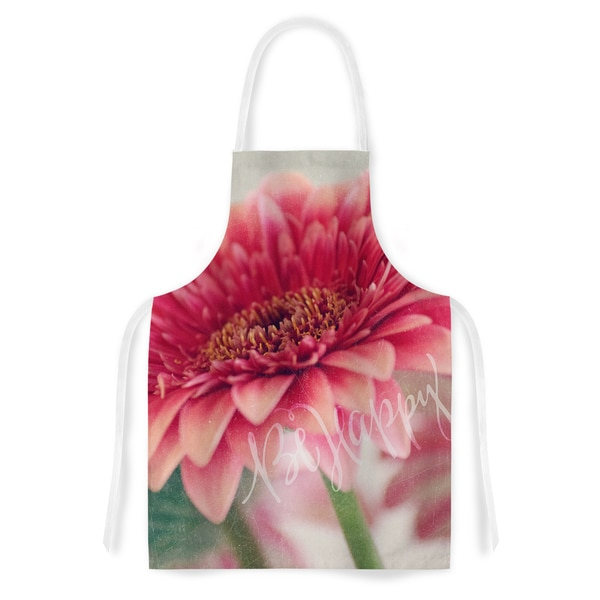 KESS InHouse Robin Dickinson 'Be Happy' Pink Floral Artistic Apron - 31 x 36