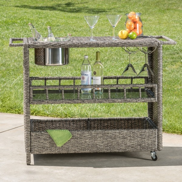 Puerta Outdoor Wicker Bar Cart with Ice Pail by Christopher Knight Home. Opens flyout.