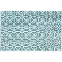 RUGGABLE Washable Indoor/ Outdoor Stain Resistant Pet Accent Rug Floral Tiles Aqua Blue - 3' x 5'