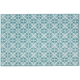 RUGGABLE Washable Indoor/ Outdoor Stain Resistant Pet Accent Rug Floral Tiles Aqua Blue (3' x 5') - 3' x 5'