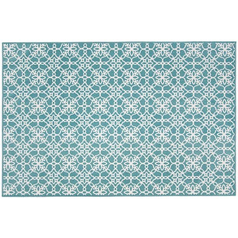 RUGGABLE Washable Stain Resistant Pet Accent Rug Floral Tiles Aqua Blue - 3' x 5'