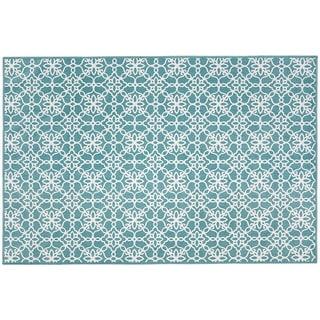 RUGGABLE Washable Stain Resistant Pet Accent Rug Floral Tiles Aqua Blue - 3' x 5'