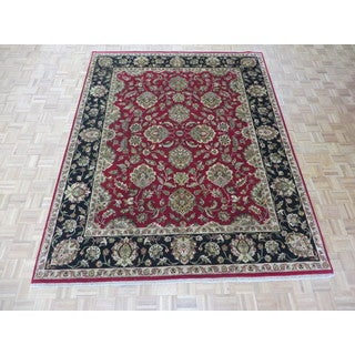 Hand Knotted Burgandy Agra with Wool Oriental Rug - 7'11 x 10'1