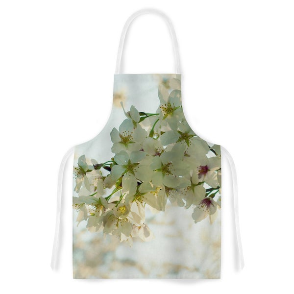 KESS InHouse Robin Dickinson 'Cherry Blossoms' White Flower Artistic Apron