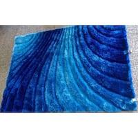 Hand-tufted Blue Geometric Modern Shag Rug - 5' x 7'