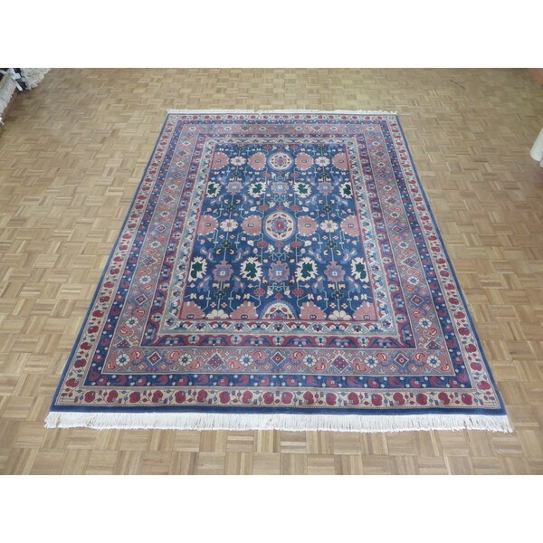 Shop Hand Knotted Blue Heriz With Wool Oriental Rug 9 X 12 On