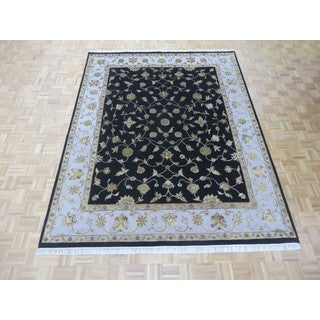 Hand Knotted Black Tabriz with Wool & Silk Oriental Rug (7'11 x 9'10)