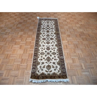 Hand Knotted Ivory Tabriz with Wool & Silk Oriental Rug - 2'7 x 8'1