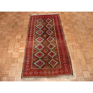 Hand Knotted Brown Shiravan with Wool Oriental Rug (3'9 x 7'3)