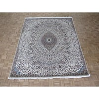 Hand Knotted Ivory Tabriz Gombad with Wool & Silk Oriental Rug - 8'3 x 10