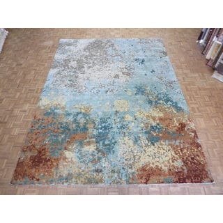 Hand Knotted Multi Color Modern with 100% Wool Oriental Rug (10'2 x 13'9)