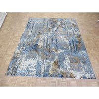 Hand-knotted Modern Wool Blue Oriental Rug (9'6 x 12')
