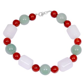 Orchid Jewelry Solid Sterling Silver Carnelian, White Agate and Green Aventurine Beaded Bracelets