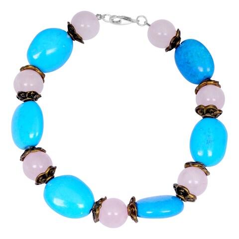 Orchid Jewelry Turquoise and Rose Quartz Gemstone Beaded Bracelets