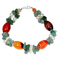 Orchid Jewelry Solid Sterling Silver Green Aventurine, Pearl and Carnelian Beaded Bracelets