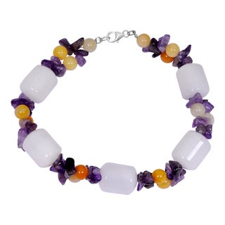 Orchid Jewelry Solid Sterling Silver White Agate, Amethyst and Honey Jade Beaded Bracelets