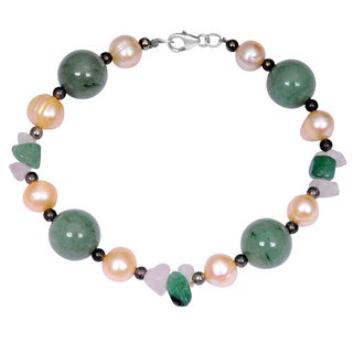 Orchid Jewelry Solid Sterling Silver Green Aventurine, Pearl and White Agate Beaded Bracelets