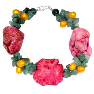 Orchid Jewelry Solid Sterling Silver Green Aventurine, Pearl and Agate Beaded Bracelets