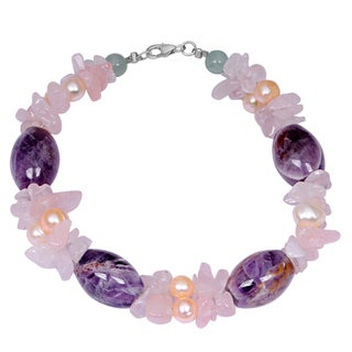 Orchid Jewelry Solid Sterling Silver Green Aventurine, Rose Quartz and Pearl Beaded Bracelets