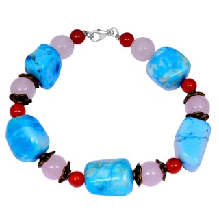 Orchid Jewelry Turquoise, Rose Quartz and Carnelian Gemstone Fashion Beaded Bracelets