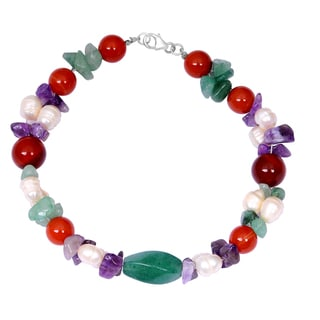Orchid Jewelry Solid Sterling Silver Carnelian, Pearl, Amethyst and Green Aventurine Beaded Bracelets