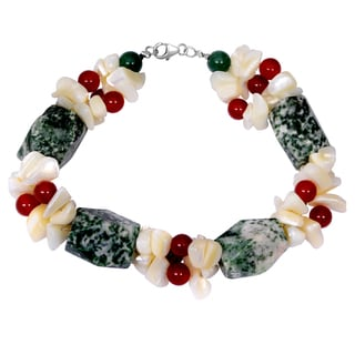 Orchid Jewelry Solid Sterling Silver Green Jasper, Carnelian, Green Aventurine and Mother of Pearl Beaded Bracelets