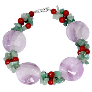 Orchid Jewelry Solid Sterling Silver Amethyst, Green Aventurine and Carnelian Beaded Bracelets