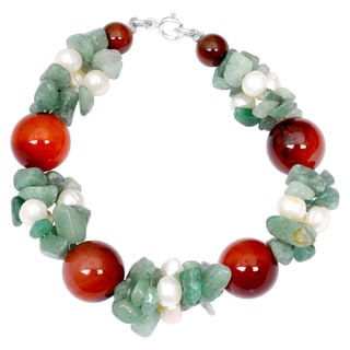 Orchid Jewelry Solid Sterling Silver Carnelian, Green Aventurine and Pearl Beaded Bracelets