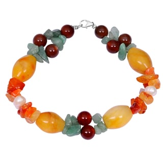Orchid Jewelry Solid Sterling Silver Carnelian, Green Aventurine, Honey Jade and Pearl Beaded Bracelets