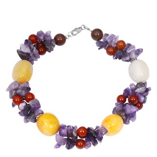 Orchid Jewelry Solid Sterling Silver Honey Jade, Amethyst, Carnelian and White Agate Beaded Bracelets