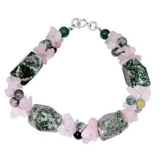 Orchid Jewelry Solid Sterling Silver Green Aventurine, Rose Quartz and Green Jasper Beaded Bracelets