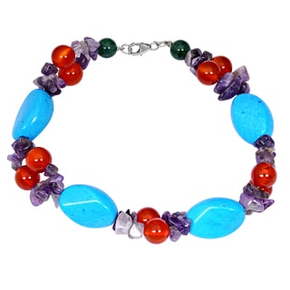 Orchid Jewelry Solid Sterling Silver Turquoise, Carnelian, Amethyst and Green Aventurine Beaded Bracelets
