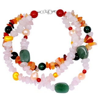 Orchid Jewelry Solid Sterling Silver White Agate, Pearl, Green Aventurine and Carnelian Beaded Bracelets