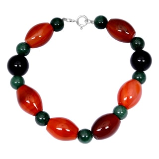 Orchid Jewelry Solid Sterling Silver Green Aventurine, Black Onyx and Carnelian Beaded Bracelets