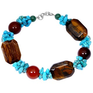 Orchid Jewelry Solid Sterling Silver Tiger Eye, Carnelian and Turquoise Beaded Bracelets