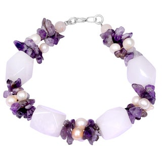 Orchid Jewelry Solid Sterling Silver White Agate, Amethyst and Pearl Beaded Bracelets