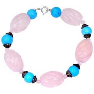 Orchid Jewelry Turquoise and Rose Quartz Gemstone Fashion Beaded Bracelets
