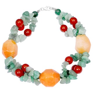 Orchid Jewelry Solid Sterling Silver Green Aventurine, Carnelian and Honey Jade Beaded Bracelets