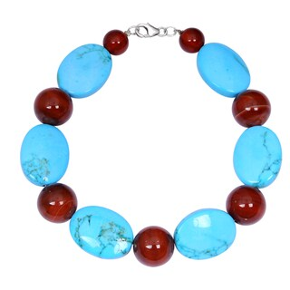 Orchid Jewelry Solid Sterling Silver Turquoise and Carnelian Beaded Bracelets