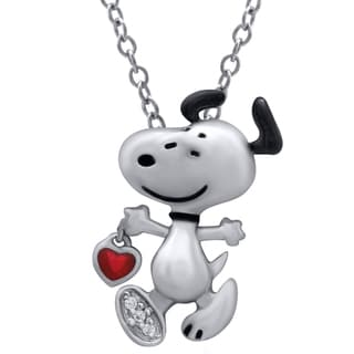 Peanuts Snoopy Sterling Silver Diamond Accent Pendant