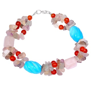 Orchid Jewelry Solid Sterling Silver Carnelian, Turquoise, Rose Quartz and Amethyst Beaded Bracelets