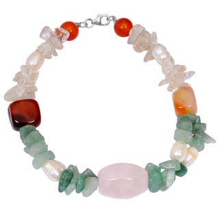 Orchid Jewelry Solid Sterling Silver Pearl, Green Aventurine, Carnelian, Crystal Quartz and Rose Quartz Beaded Bracelets