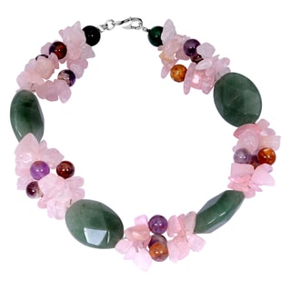 Orchid Jewelry Solid Sterling Silver Rose Quartz, Green Aventurine and Amethyst Beaded Bracelets