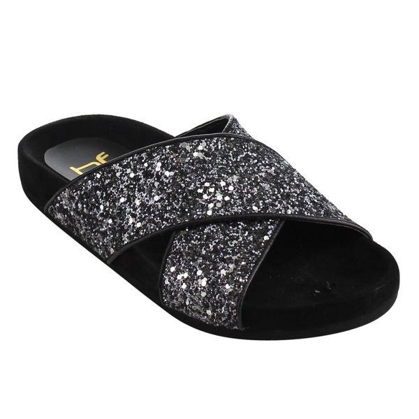3e36187e9 BETANI Women  x27 s Black Faux Leather Glitter Criss Cross Strap Footbed  Sandals