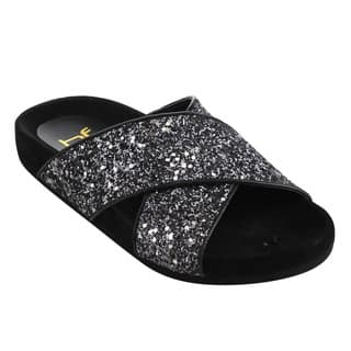 BETANI Women's Black Faux Leather Glitter Criss Cross Strap Footbed Sandals|https://ak1.ostkcdn.com/images/products/14582218/P21128935.jpg?impolicy=medium